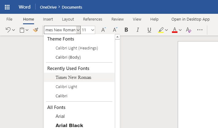 Setting Huruf Font Word