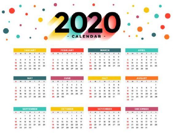 Contoh Kalender 2020