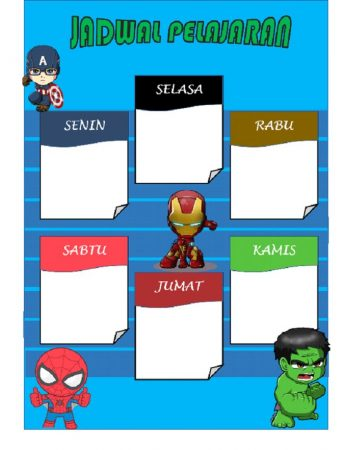 Template Jadwal Pelajaran Tema Marvel