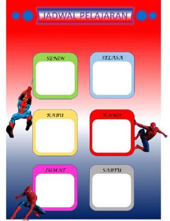 Template Jadwal Pelajaran Spiderman