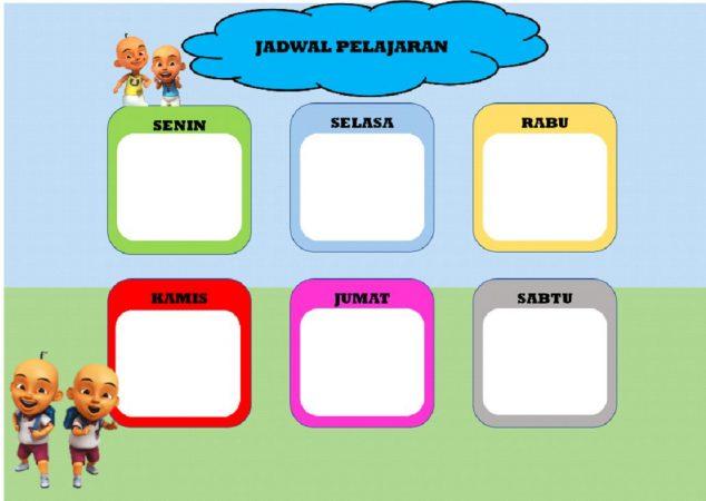 Template Upin Ipin Jadwal Pelajaran