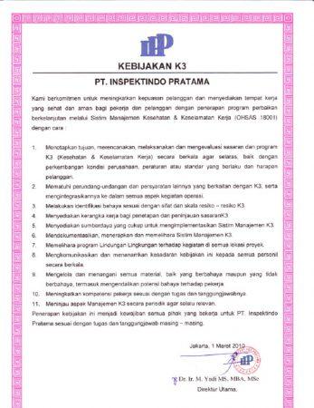 Contoh K3 Perusahaan
